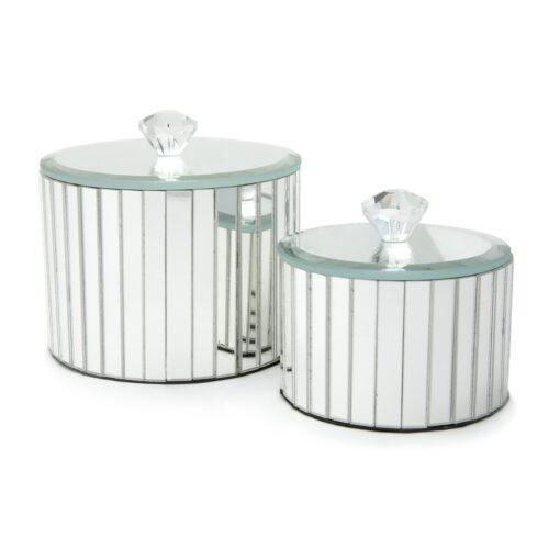 Set of 2 Round Mirrored Trinket Boxes