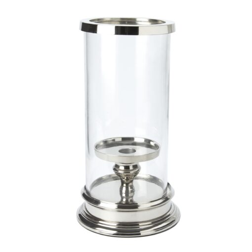 Glass and Silver Cylinder Hurricane Lamp