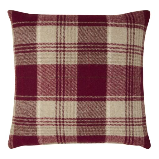 Cranbourne Wool Check Cushion Cranberry