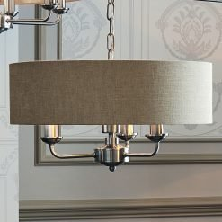 Sorrento Chrome 3 Arm Ceiling Pendant with Natural Shades