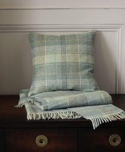 Cranbourne Duck Egg Check Wool Cushion