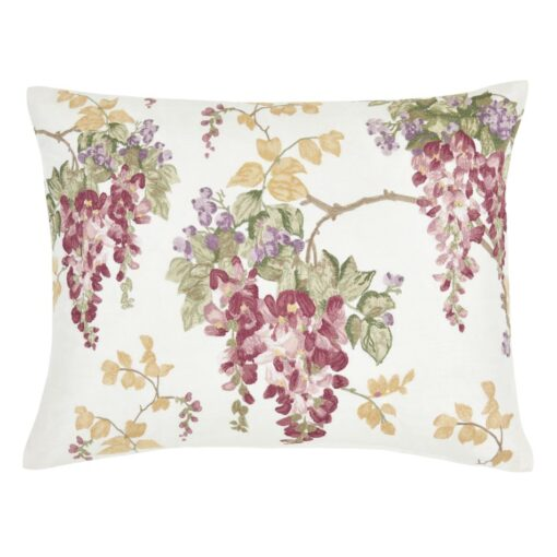 Wisteria Floral Cranberry Embroidered Cushion