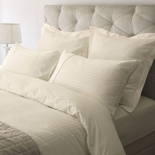 Shalford Single Satin Stripe Cream Cotton Duvet Cover
