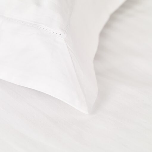 Shalford Single Satin Stripe White Cotton Duvet Cover