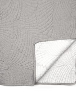 Palms Silver Quilted Bedspread