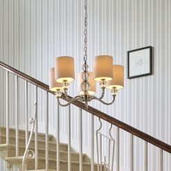 Selby 5 Arm Nickel Chandelier With White Shades